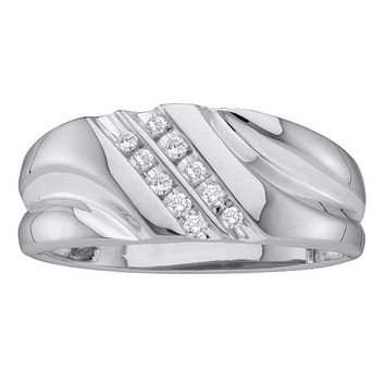 10kt White Gold Men's Round Diamond 2-row Wedding Anniversary Band Ring 1/8 Cttw - FREE Shipping (US/CAN)
