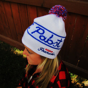 vintage Pabst winter beanie. made in USA. Firecracker. Nisswa, MN
