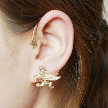 Punk Rock Stereoscopic Running Horse Unicorn Star Lady Clip Earring for left ear SM6