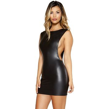 Wet Look Mini Dress with Open Cutout Side Detail
