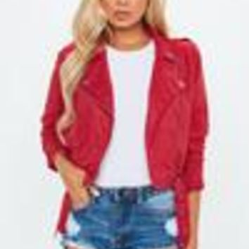 Missguided - Red Cropped Suedette Biker Jacket