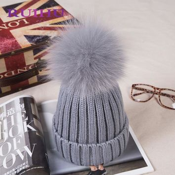 RUIHU Women Thick Winter Caps Colorful Solid Hats For Women Female Lady Detachable Fox Fur Ball + Knitted Hat RHM692