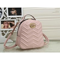 Gucci Classic Fashionable Women Leather Daypack Backpack Bookbag Pink
