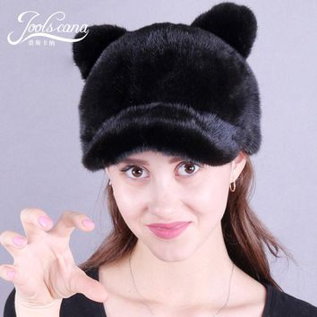 Joolscana mink fur hat winter hats for women cap natural whole mink fur caps with brim beanie cute cat ear costume ball