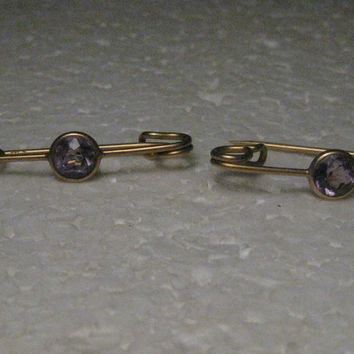 Vintage 14kt Gold Pair Safety Pin Brooches Amethyst Stones, Signed R, C-Clasp, 2.89 gr.