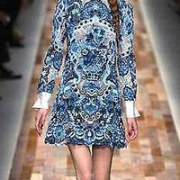 Fashion Runway Elegant Dress Long Sleeve Blue and white Cocktail Party S-L