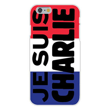 Apple iPhone 6 Custom Case White Plastic Snap On - 'JE SUIS CHARLIE' French Flag Patriotism Design