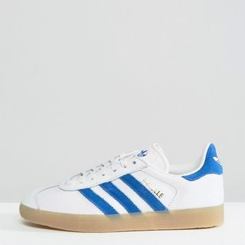 adidas Originals Leather Gazelle Sneakers With Gum Soles at asos.com