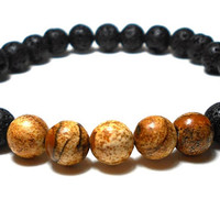 Men's Lava Rock, Men's Picture Jasper Bracelet, Men's Stone Bracelet, Men's Black Bracelet, Men's Jewelry, Gift for Him