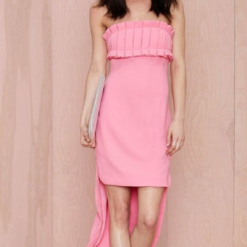 Pink Strapless Pleated Asymmetrical Dress