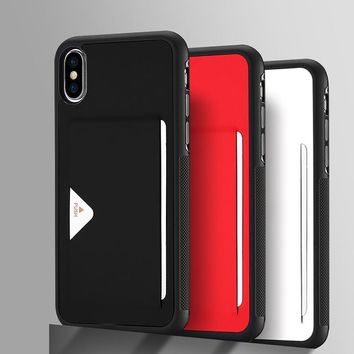 For iPhone X Case Luxury PU Leather With Credit Card Slot Holder Soft TPU + PU Back Protection Cover