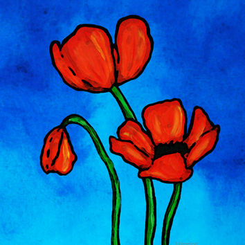 Red Poppies Print from Painting Colorful Blue Sky Poppies Love Flowers CANVAS Ready To Hang Large Artwork Rich Floral Love Art Ruby Petals
