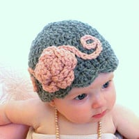 Christmasinjuly Baby hats, baby flapper girl hat, pink and gray baby hat, ready to ship photo prop, baby girl hats