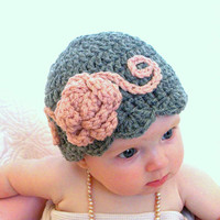 Baby hats baby flapper girl hat pink and gray by crochetedcuddles