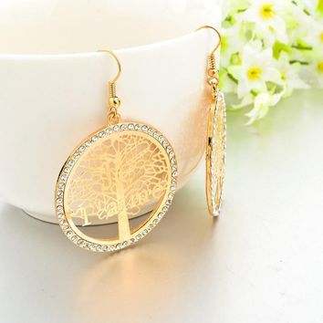 Big Round Drangle Earrings Gold Plated Tree of Life