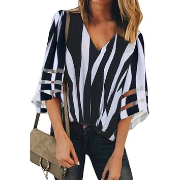 Black Striped 3/4 Bell Sleeve V Neck Lace Patchwork Blouse