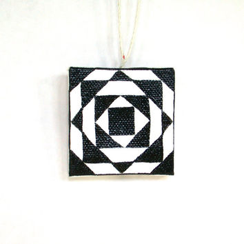 Graphic Black and White, Miniature Abstract Painting, Geometric Triangle, Black and White Miniature, Graphic Painting