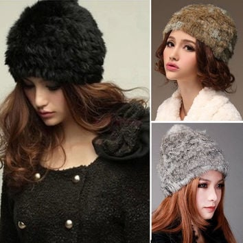 New Fashion Real Rabbit Fur Knitted Hat Cap Women Winter Warm SV005863 Apparel & Accessories = 1932531268