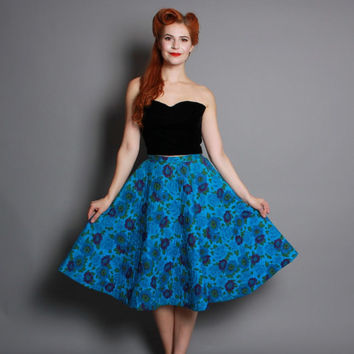 50s Quilted CIRCLE SKIRT / Blue FLORAL / Pinup Perfection, s