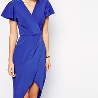 Love Wrap Front Midi Dress with Tulip Hem