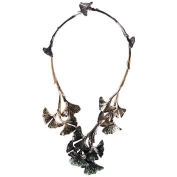 2011 Chanel Hand-Enameled Ginkgo Leaf Motif Articulated Collar Necklace