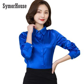 64c29f5457501 SymorHouse Women silk satin blouse button long sleeve lapel la