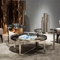 Modrest Wilcox Contemporary Mirrored Coffee Table Set - Living Room