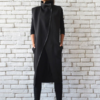 Long Loose Black Sleeveless Coat/High Collar Black Vest/Asymmetric Neoprene Jacket Without Sleeves/High Fashion Black Sleeveless Cardigan
