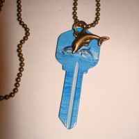 Dolphin Key Necklace Pendant Blue