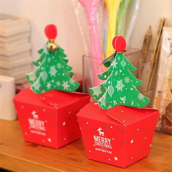 Christmas Tree Packing Box Cupcakes Dessert Cookies Candy Gift Apple Box With Bells Golden Cord Festival Present Bagping