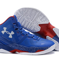 Men's Under Armour Stephen Curry 2 Providence Road MVP WSC Royal Blue Red White Basketball Shoes