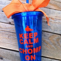 Gators Keep calm and chomp on, 16 oz with straw and orange bow