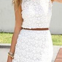 White Sleeveless Lace Cutout Bodycon Mini Dress