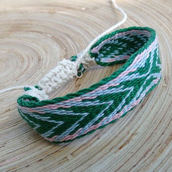 cotton bracelet, woven friendship braclet,  blue green wrist band, handmade arm band, boho  jewelry, table weaving bracelet, cotton bangle