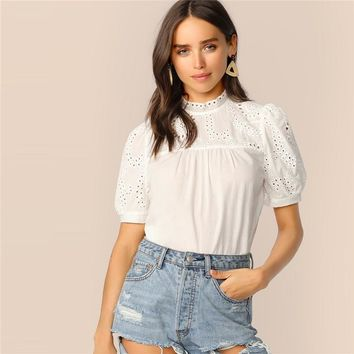 White Keyhole Back Mock-neck Eyelet Embroidered Top Boho Blouse Women Puff Sleeve O-neck Womens Tops and Blouses
