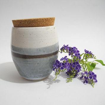 Storage Jar with Cork Lid, Kitchen Storage, Tea Caddy,  Handmade Pottery in Grey and White