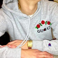 GUCCI : Champion flower rose print sweater grey hoodie pullover Grey For Women Men