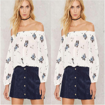 White Floral Print Off the Shoulder Long Sleeve Blouse