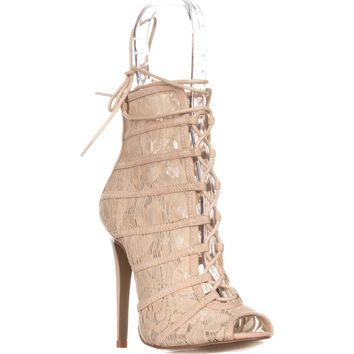 Chinese Laundry Jingle Caged Lace Up Booties, Lace Nude, 10 US / 41 EU