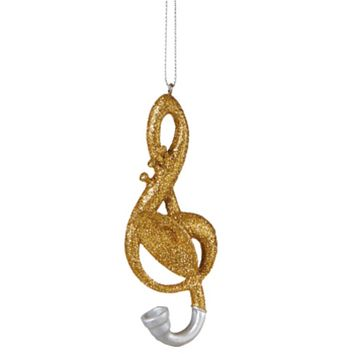 Glamour Time Gold and Silver Glittered French Horn Treble Clef Musical Note Christmas Ornament 4.5""