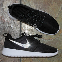 Nike Roshe One made with SWAROVSKI crystals - Black/White/Metallic Platinum
