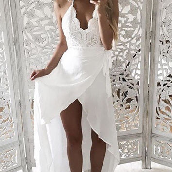 SOLID LACE WRAP MAXI DRESS - White - FINAL SALE