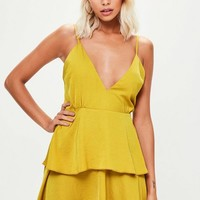 Missguided - Yellow Satin Cross Back Tiered Mini Dress