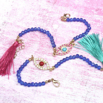 evil eye bracelet, rhinestone bracelet, evil eye jewelry, evil eye, evil eye protection, tassels, protection jewelry, boho tassel evil eye