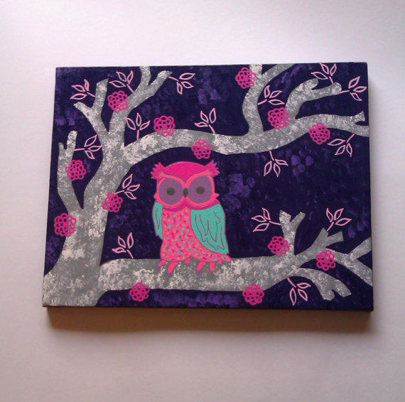 Owl In A Tree Canvas Painting For Girls From Starrjoy16 On