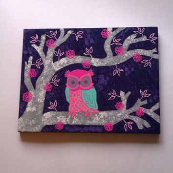 Owl in a tree canvas painting for girls baby nursery, tween, or teens room