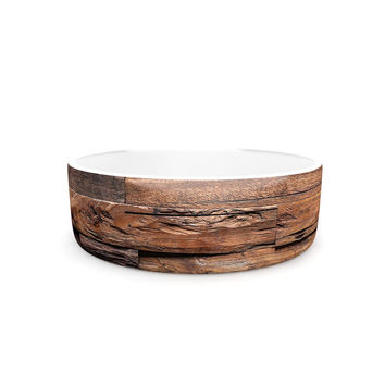 "Susan Sanders ""Espresso Dreams"" Rustic Wood Pet Bowl"