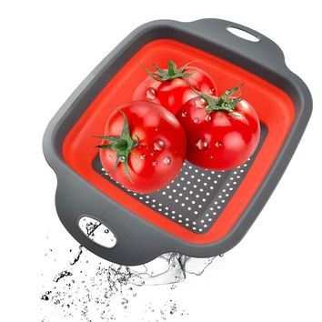 1Pc Square Folding Colander Washing Drain Basket Eco-Friendly Food Fruits Vegetable Wash Basket Home Kitchen Gadgets Supplies