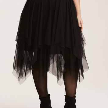 Layered Tulle Midi Skater Skirt