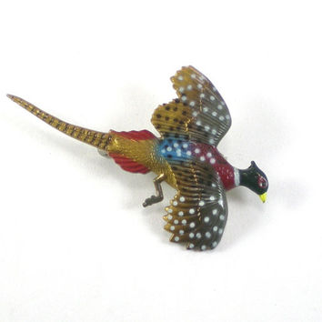 Vintage Brown Blue Red Celluloid Colorful Pheasant Bird Brooch Pin Figural